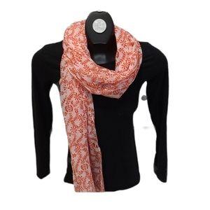 Orange & white fern floral scarf/ wrap head scarf